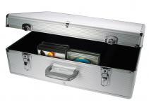 "SAFE 214 ALU Koffer "" CD Silver Star"" Für 144 CD's DVD's Blue Ray Datenträger in Kunststoffhüllen"