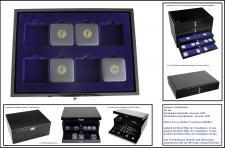 1 x SAFE 5943-2 Schwarze Schubladen mit blauer Einlage doppelt tief 25 mm Für 8 original Deutsche Münzetuis 20 - 100 - 200 Goldeuro 68 x 68 mm