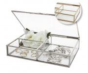 SAFE 5701 Silber Messing Echtglas Vitrinen Schmuckschatulle Schmuckkassette Uhrenvitrine 20x14x4 cm