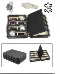 SAFE 0012 Leder Reiseetui Uhren Etui Koffer Uhrenbox in matt Carbo - Schwarz für 8 Armbanduhren Uhrenetui