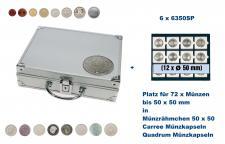 SAFE 235 - 6350 ALU Länder Münzkoffer SMART BR. Deutschland Kursmünzen 1 Pfennig - 5 DM mit 6 Tableaus 6350 Für 72 Münzen in Münzrähmchen 50x50 mm & Münzkapseln Carree - Octo - Quadrum