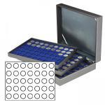 LINDNER 2365-2111ME Nera XL Münzkassetten mit 3 Marine Blau Einlagen 105 Fächer für Münzen bis 32, 50 mm für 10 Euro / DM