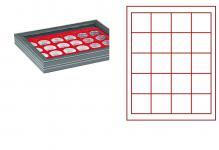 LINDNER 2367-2120E Nera M PLUS Münzkassetten Einlage Hellrot Rot mit glasklarem Sichtfenster 20 Fächer 47x47mm für 1 Dollar US Silver Eagle $ in Münzkapseln