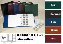 KOBRA FZ-SO Blau Münzalbum 10 € Euro Münzen + 5 x Münzblättern F20 + ZWL erweiterbar bis 200 Münzen Für 5 & 10 DM - 5 & 10 Euro Gedenkmünzen
