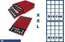 SAFE 6841 XXL Nova Exquisite Holz Münzboxen Schubladenelement mit 2 Tableaus 6341 und 40 Fächer 41 mm Für Münzen bis 41 - Münzkapseln bis 36 mm - 1 Dollar $ US Silver Eagle