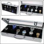 SAFE 262 Design ALU Uhrenkoffer 12 extra großen Fächer 65 x 80 mm + Uhrenhaltern klarem