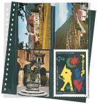 1 x LINDNER 829 Postkarten Klarsichthüllen Schwarz 4 senkrechte Taschen 114x146 mm Für 8 neue Postkarten Ansichtskarten
