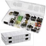 SAFE 5250 Transparente Kleinboxen Setzkasten Kunststoff Universal mit 18 Fächer 33 x 33 x 25 mm Für Mineralien - Fossilien - Bernstein - Muscheln - Schnecken - Kristalle