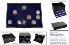 SAFE 5904-2 Schwarze Schubladen doppelt tief 25 mm mit blauer Einlage 28 Fächer 40 x 40 x 25 mm Ideal für kleine Schwebedosen & Mineralien & Bernstein & Fossilien