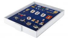LINDNER 2419 Sammelbox Standard Marine Blau - MILITARIA ORDEN ABZEICHEN PINS BUTTON ANSTECKNADELN