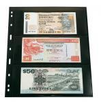 5 x LINDNER 073 UNIPLATE Blätter, schwarz 3 Streifen / Taschen 84 x 194 mm Für Blocks Banknoten Geldscheine