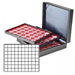 LINDNER 2365-2180E Nera XL Münzkassetten 3 Einlagen Hellrot Rot 24 Fächer für Münzen bis 24 x 24 mm 1 DM Euro Mark DDR 1 Goldmark