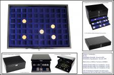 1 x SAFE 5902-3 Schwarze Schubladen dreifach tief 49 mm blaue Tableaus 70 eckige Fächer 25 mm Ideal für Schmuck - Mineralien - Fossilien - Bernstein - Edelsteine
