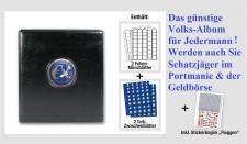 SAFE 7358 PREMIUM VOLKS - Album EUROMÜNZALBUM Vordruckalbum für 10x komplette EURO Kursmünzensätze KMS 1, 2, 5, 10, 20, 50 Cent 1, 2 Euro + Jahreszahlen -Flaggenset