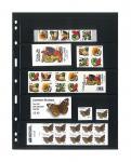 5 x LINDNER 075 UNIPLATE Blätter, schwarz 5 Streifen / Taschen 48 x 194 mm Für Briefmarken