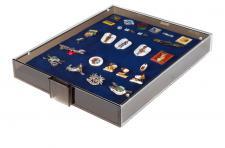 LINDNER 2459 Sammelbox Rauchglas Marine Blau - MILITARIA ORDEN ABZEICHEN PINS BUTTON ANSTECKNADELN