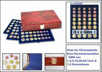 SAFE 5792 Premium WURZELHOLZ Münzkassetten 3 Tableaus 6340 Für 15 komplette Euro KMS Kursmünzensätze 1, 2, 5, 10, 20, 50 Cent - 1, 2 € Euromünzen