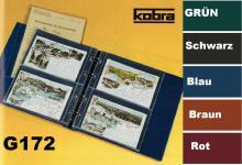 KOBRA G172 Blau Postkartenalbum Sammelalbum + 20 glasklaren geteilten Blättern G172E für 80 Postkarten - Ansichtskarten - Banknoten - Geldscheine