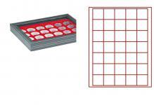LINDNER 2367-2135E Nera M PLUS Münzkassetten Einlage Hellrot Rot mit glasklarem Sichtfenster 35 Fächer für Münzen bis 36 x 36 mm - 5 Reichsmark 100 ÖS Schillinge