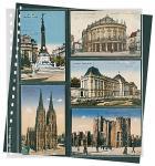 1 x LINDNER 826 Klarsichthüllen Schwarz 2 senk - 3 waagerechte Taschen 95x143 mm Für alte Postkarten Ansichtskarten