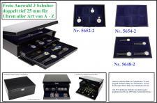 SAFE Set 6590 Schwarze Uhren Schubladen Schatulle Classic KABINETT Kassette 3x doppelt tiefe Schuber Für Taschenuhren - Armbanduhren - Big Watches extra breit bis 63 mm FREIE WAHL