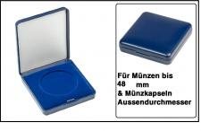 Lindner 2029-048 Blaues Kunststoff Münzetui mit blauer Veloureinlage Für Münzen / Münzkapseln bis 48 mm