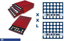 SAFE 6834 XXL Nova Exquisite Holz Münzboxen Schubladenelement mit 2 Tableaus 6334 und 60 Runde Fächer x 32 mm Ideal für 2 EURO Münzen in Münzkapseln 26