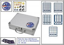 SAFE 279 ALU Sammelkoffer - Münzkoffer SMART Deutschland 3D Plakette Mixed komplett mit 6 blauen Tableaus für über 200 Münzen
