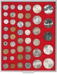 LINDNER 2145 MÜNZBOXEN Münzbox Standard 45 quadratische Vertiefungen von 24 - 28 - 39 - 44 mm Münzen