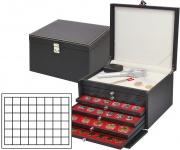 LINDNER 2376-2148E NERA KABINETT Sammelkassette Ablagefach + 6 Schubladen 2148E Für Münzen bis 30 mm & in Münzkapseln 23, 5, 24, 24, 5 mm innen & Champagnerdeckel & Kronkorken