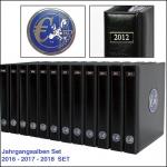 SAFE SET 7435 - 7436 - 7437 - 3x komplette PREMIUM EURO JAHRGANGS MÜNZALBEN Kursmünzensätze KMS farbige Vordrucke Münzhüllen 2016 - 2017 - 2018