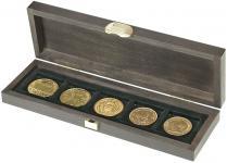 LINDNER S2490-5 Echtholz Kassette Carus S 5 Fächer Münzen bis 40 mm Ideal für Münzen bis 40 mm & in Münzkapseln bis 34 mm