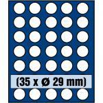 1 x SAFE 6329 SP Tableaus / Einsätze SMART mit 35 runden Fächern 29 mm ideal für 5 Euro DM Mark DDR & bis Münzkapseln 23, 5 mm