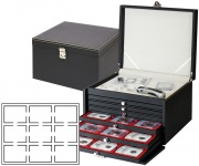 LINDNER 2376-2135E NERA KABINETT Sammelkassette Ablagefach + 6 Schubladen 2135E Für Münzen bis 36 mm & in Münzkapseln 29, 29, 5 , 30 mm innen