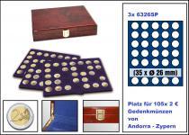 SAFE 5794 Premium WURZELHOLZ Münzkassetten mit 3 Tableaus 6326 - 105 Fächer Für 2 Euro Münzen Gedenkmünzen