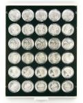 Lindner 2537C Münzbox Münzboxen Carbo Schwarz 30x 37 mm 10 Euromünzen in original Münzkapseln PP ohne Rand
