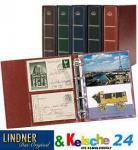 Lindner 5800 - W - Postkartenalbum Lotos Weinrot Rot + 50 Klarsichthüllen 5801 für bis zu 200 Postkarten - Ansichtskarten - Banknoten - Briefe - Belege