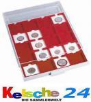 Leuchtturm 320565 Münzbox Münzboxen 20 eckige Fächer 50 mm Quadrum Münzkapseln Münzrähmchen MBG20M Grau