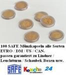 100 SAFE Münzkapseln Münzenkapseln CAPS 42 NEU