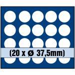 1 x SAFE 6337 SP Tableaus / Einsätze SMART mit 20 runden Fächern 37, 5 mm 10 - 20 Euro - 10 DM in Münzkapseln 32, 5 PP randlos