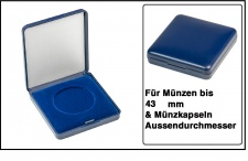 Lindner 2029-043 Blaues Kunststoff Münzetui mit blauer Veloureinlage Für Münzen / Münzkapseln bis 43 mm