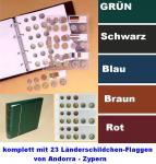 KOBRA FE Rot Euro-Münzalbum Album Ringbinder + 5 Münzhüllen Münzblätter FE24 + farbige Vordrucke + 23 Länderschildchen für 15 komplette EURO KMS Kursmünzensätze von Andorra - Zypern