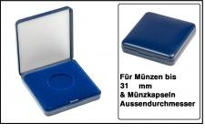 Lindner 2029-031 Blaues Kunststoff Münzetui mit blauer Veloureinlage Für Münzen / Münzkapseln bis 31 mm