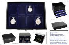 SAFE 5652-2 Schwarze Schubladen doppelt tief 25 mm blaue Einlage für 8 Taschenuhren