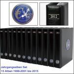 SAFE SET 7420 - 7434 - 15x komplette PREMIUM EURO JAHRGANGS MÜNZALBEN Kursmünzensätze KMS farbige Vordrucke Münzhüllen 1999 - 2015
