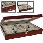 SAFE 261 Lackholz Uhrenkassette Mahagonifarbend Piano Optik mit 18 Uhrenhaltern klarem Sichtfenster - Schmuck