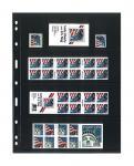 5 x LINDNER 074 UNIPLATE Blätter, schwarz 4 Streifen / Taschen 63 x 194 mm Für Briefmarken Blocks Banknoten Geldscheine