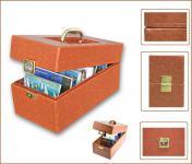SAFE 167 Kunstleder Sammelkoffer Koffer Hellbraun Für bis zu 600 Postkarten Ansichtskarten