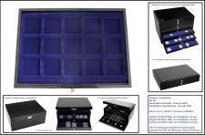 1 x SAFE 5905-1 Schwarze Schubladen mit blauen Tableaus einfach tief 15 eckige Fächer 55 mm Für große Münzen & Medaillen & Münzkapseln bis 50 mm