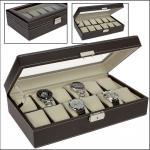 SAFE 73630 Skai Uhrenkoffer Kassette Tabak - Dunkelbraun Für 12 Uhren + Uhrenhaltern Cremefarbend